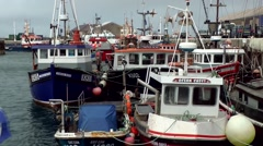 Scotland Orkney Islands Kirkwall 031 colorful fishing boats in the harbor Stock Footage