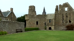 Scotland Orkney Islands Kirkwall 017 landmark; ruins of Bishop and Earls Palace Stock Footage