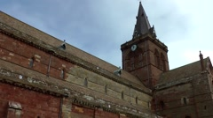 Scotland Orkney Islands Kirkwall 011 St. Magnus Cathedral south side Stock Footage