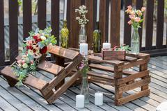 Wedding decor, wooden style Stock Photos