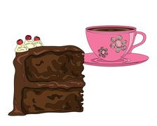 Cake and coffee Stock Illustration
