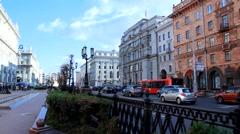 Street of Minsk, Belarus Stock Footage