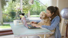 4K Woman working on laptop computer at home with cute puppy  Stock Footage