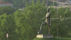 Stock Video Footage of WMircea Luca statue in front of Cluj Arena, Cluj-Napoca