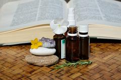 Remedies and homeopathic guide book - stock photo