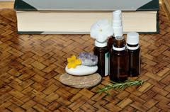 Homeopathic remedies and book Stock Photos