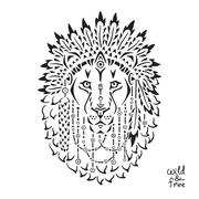 Lion in war bonnet, animal illustration, native american poster, t-shirt design Stock Illustration