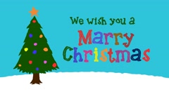 We Wish you a Marry Christmas in Cartoon Style Stock Footage