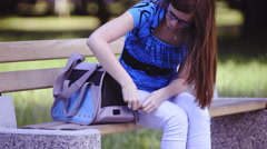 Woman open carrying bag cute kitten 4K  Stock Footage