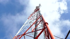 Communications Tower With Clouds Stock Footage