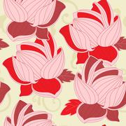 seamless pattern with  red lotus - stock illustration