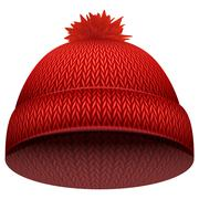 Knitted woolen cap. Winter seasonal red hat - stock illustration