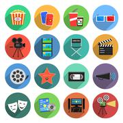 Movie Icons Flat Set Stock Illustration