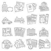 Stock Illustration of Vacation travel icons set line