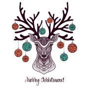 Colored Christmas Deer Stock Illustration