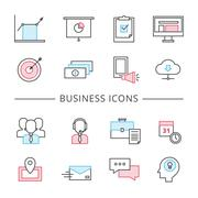 Business Line Icons Set - stock illustration