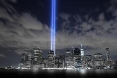 Tribute in light 9/11 Stock Photos