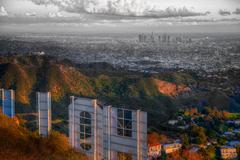 Hollywood sign Los Angeles LA - stock photo