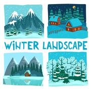 Winter Landscape Digital Graphic Set - stock illustration
