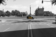 Barcelona yellow cab - stock photo