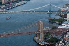 Brooklyn Bridge aerial Stock Photos
