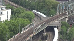 4K Aerial view public transportation train pass travel railway infrastructure  Stock Footage