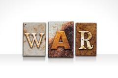War Letterpress Concept Isolated on White - stock illustration