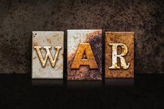 War Letterpress Concept on Dark Background - stock illustration