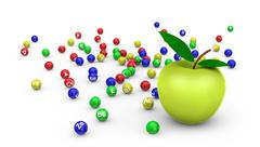 Stock Illustration of apple and vitamins