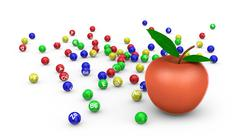 apple and vitamins - stock illustration