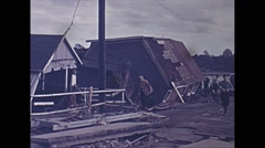 Vintage 16mm film, USA 1945, hurricane aftermath damaged homes #12 Stock Footage
