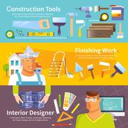 Renovation Banner Set Stock Illustration