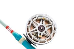 Vintage fishing reel and rod Stock Photos