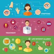 Allergy Symptoms Medical Treatment Horizontal Banners Stock Illustration