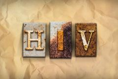 HIV Concept Rusted Metal Type - stock illustration