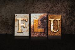 Flu Letterpress Concept on Dark Background Stock Illustration
