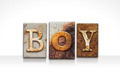 Boy Letterpress Concept Isolated on White Stock Illustration