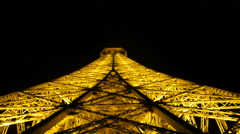 Tall Eiffel tower with yellow lights Stock Footage