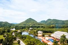 Greenery natural of  landscape with moutains and building in Suan Phueng, Rat - stock photo
