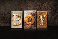 Boy Letterpress Concept on Dark Background - stock illustration
