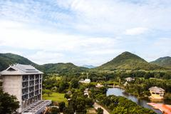 Greenery natural of  landscape with moutains and building in Suan Phueng, Rat Stock Photos