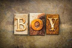 Boy Concept Letterpress Leather Theme - stock illustration
