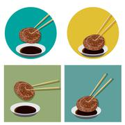 Piece of meat is holding with chopsticks and sauce Stock Illustration