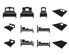 Set of Hotel icon, Bed sign Stock Illustration