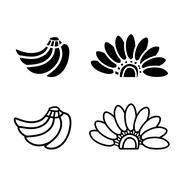 bunch of bananas icon and logo in silhouette - stock illustration