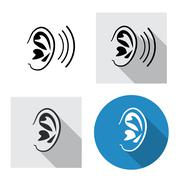 Set of ear icon side view in linear style Stock Illustration