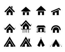 Set of traditional home icon in minimal - stock illustration