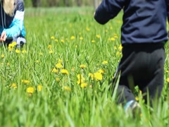 Stock Video Footage of Mother and son in nature - green lawn son runs to his mother