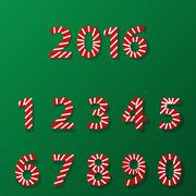 Set of number in candy cane style - stock illustration