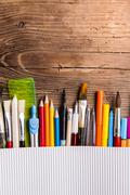 Back to school composition - stock photo